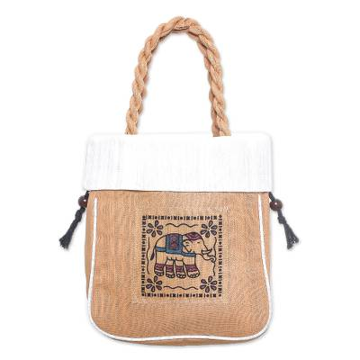 100% Cotton Tan and White Elephant Motif Cinch-Top Tote Bag