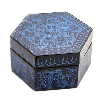 Blue and Black Thai Lacquered Wood Decorative Box