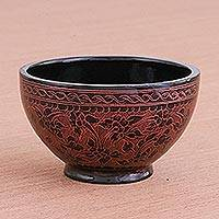Lacquered wood decorative bowl, 'Red Floral Forest' - Handcrafted Red and Black Lacquered Bowl from Thailand