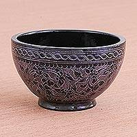 Lacquered wood decorative bowl, 'Purple Floral Forest' - Purple and Black Traditional Thai Lacquered Wood Bowl