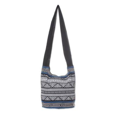 Black and White Embellished Cotton Blend Shoulder Bag