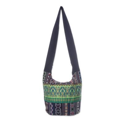 Black and Multi-Color Patterned Cotton Blend Shoulder Bag