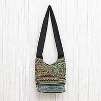 Cotton blend shoulder bag, 'Lively Meadow' - Multi-Color Cross-Stitch Cotton Blend Shoulder Bag
