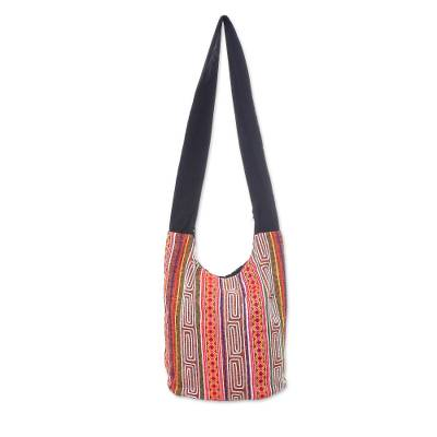 Brown and Multi-Color Embellished Cotton Blend Shoulder Bag