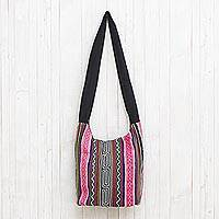 Cotton blend shoulder bag, 'Vibrant Energy' - Black and Multi-Color Embellished Cotton Blend Shoulder Bag