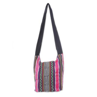Black and Multi-Color Embellished Cotton Blend Shoulder Bag