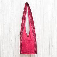 Cotton shoulder bag, 'Passionate for Pink' - Fuchsia and Cerise Color Block 100% Cotton Shoulder Bag