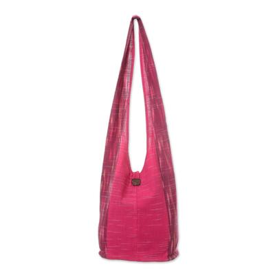Fuchsia and Cerise Color Block 100% Cotton Shoulder Bag