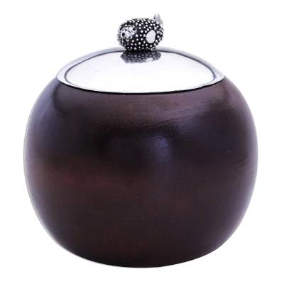 Spherical Wood Decorative Bowl with Pewter Lid and Fish Knob