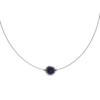 Black Agate Modern Pendant Necklace from Thailand