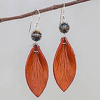 Tiger's Eye and Leather Dangle Earrings, 'Supple Petals in Rust' - Leather Petal Earrings with Tiger's Eye Beads
