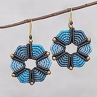 Hand-knotted dangle earrings, 'Dreamy Delight in Blue' - Hand-Knotted Dangle Earrings in Blue from Thailand