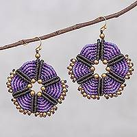 Hand-knotted dangle earrings, 'Fantastic Delight in Purple' - Round Hand-Knotted Dangle Earrings in Purple from Thailand