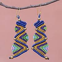Hand-knotted dangle earrings, 'Zigzag Dream'