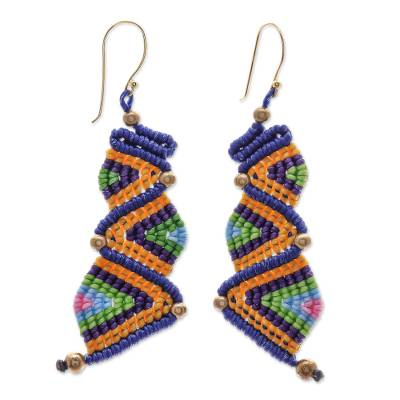 Hand-knotted dangle earrings, 'Zigzag Dream' - Colorful Zigzag Pattern Hand-Knotted Dangle Earrings