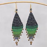 Hand-knotted dangle earrings, 'Boho Diamonds in Green' - Diamond-Shaped Hand-Knotted Dangle Earrings in Green