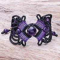 Amethyst macrame bracelet, 'Dazzling Bohemian' - ARtisan Crafted Amethyst Macrame Bracelet
