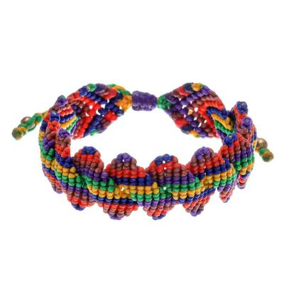 Hand-knotted macrame bracelet, 'Rainbow Cascade' - Rainbow Colors Macrame Wristband Bracelet
