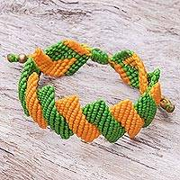 Hand-knotted macrame bracelet, 'Citrus Cascade' - Women's Adjustable Yellow and Green Macrame Bracelet