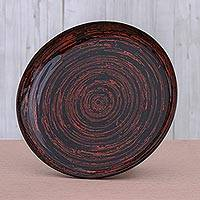 Lacquered bamboo decorative plate, 'Red Vortex' - Decorative Lacquered Bamboo Plate from Thailand