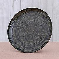 Lacquered bamboo decorative plate, 'Green Vortex' - Artisan Crafted Lacquered Bamboo Display Plate