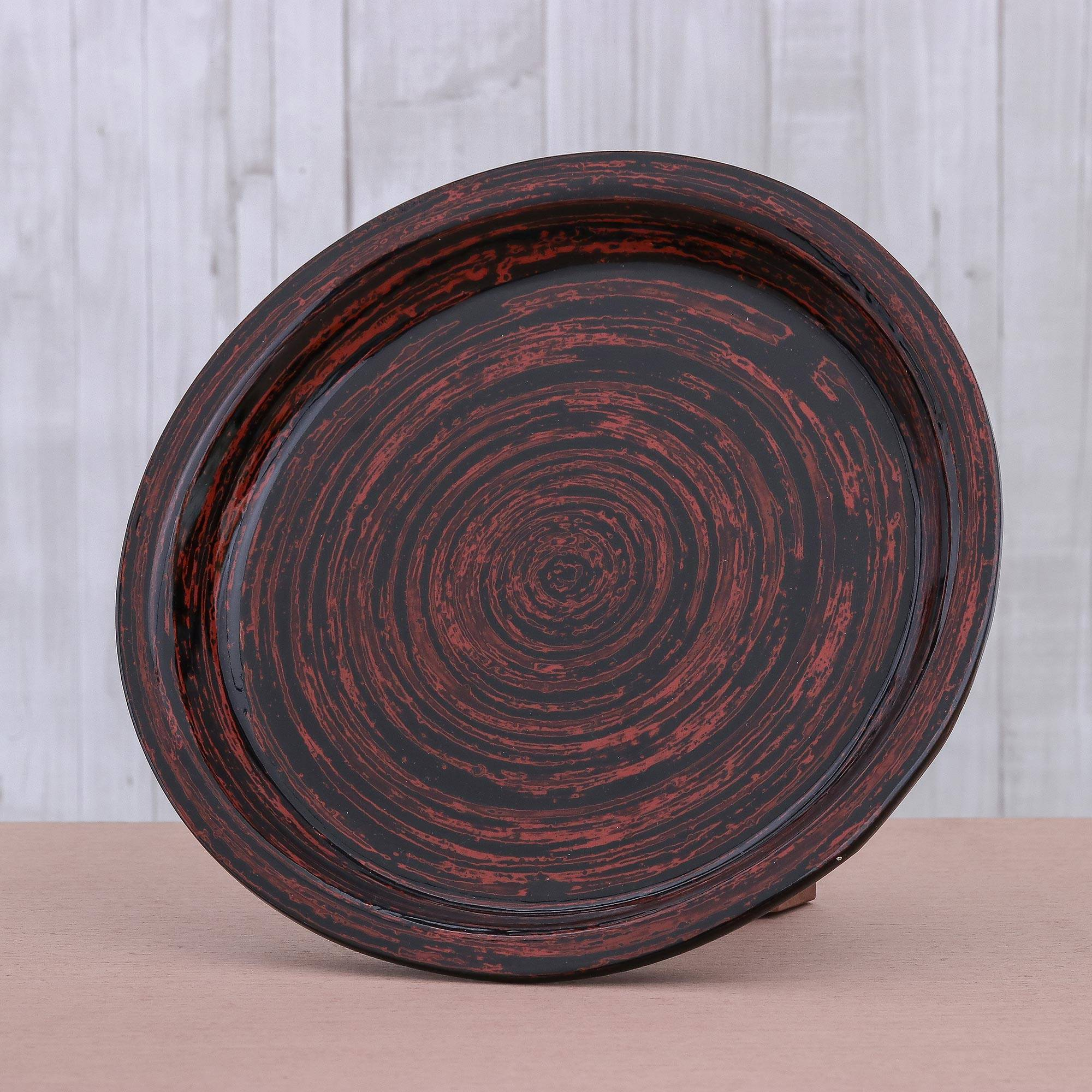 Novica Decorative Large Lacquerware Bamboo Vase Melody Of Art Red Vases Home Decor