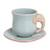 Celadon ceramic cup and saucer, 'Elephant Gaze' - Aqua Celadon Cup and Saucer with Elephant Motif (image 2a) thumbail
