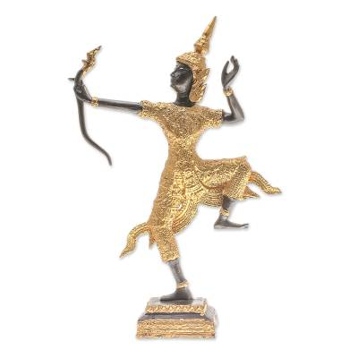Intricate Brass Sculpture of Lord Rama in Gold and Black