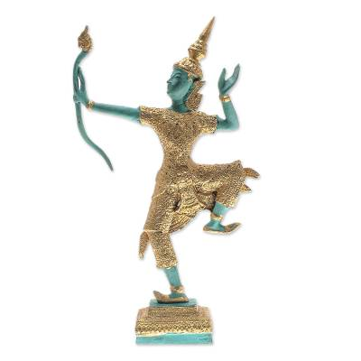 Intricate Brass Sculpture of Lord Rama in Green and Black