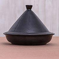 Ceramic tagine, 'Midnight' - Hand Crafted Black Ceramic Tagine