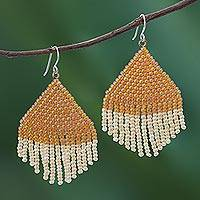 Glass beaded waterfall earrings, 'Pa Sak Sunlight' - Orange and Cream Glass Beaded Waterfall Earrings