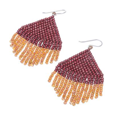 Glass beaded waterfall earrings, 'Pa Sak Dawn' - Hand Crafted Glass Bead Earrings with Sterling Hooks