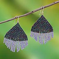 Glass beaded waterfall earrings, 'Pa Sak Dusk'