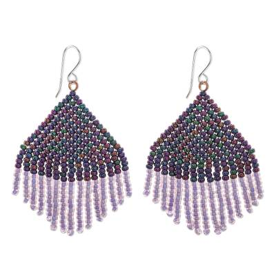 Glass beaded waterfall earrings, 'Pa Sak Dusk' - Artisan Crafted Thai Glass Beaded Waterfall Earrings
