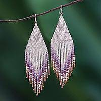 Glass beaded waterfall earrings, 'Pa Sak Cascade' - Waterfall Earrings Hand Beaded in Thailand