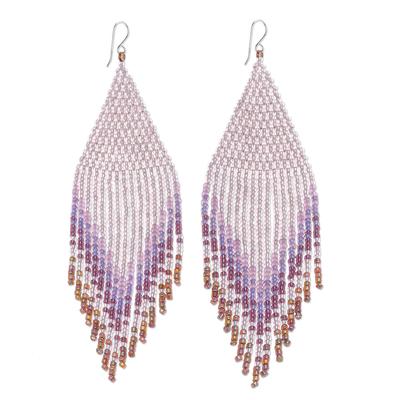 Glass beaded waterfall earrings, 'Pa Sak Cascade' - Waterfall Earrings Hand Beaded in Thailand