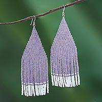 Glass beaded waterfall earrings, 'Pa Sak Lavender' - Lavender and White Glass Beaded Waterfall Earrings