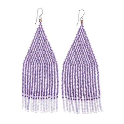 Glass beaded waterfall earrings, 'Pa Sak Lavender' - Lavender and White Glass Beaded Waterfall Earrings