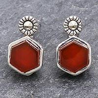 Chalcedony and marcasite stud earrings, 'Cell' - Faceted Red Chalcedony and Marcasite Stud Earrings