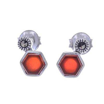 Faceted Red Chalcedony and Marcasite Stud Earrings