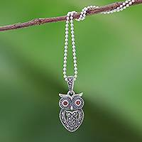 Garnet and marcasite pendant necklace, 'Mother Owl with Owlet'