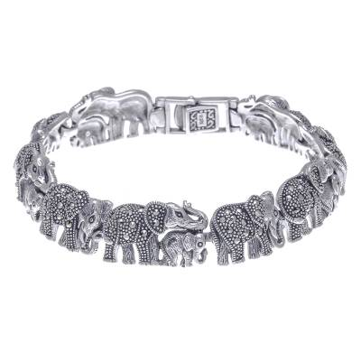 Marcasite link bracelet, 'Elephant Promenade' - Elephant Themed Sterling Bracelet with Marcasite