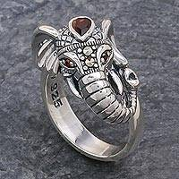 Garnet and marcasite cocktail ring, 'Crowned Elephant'
