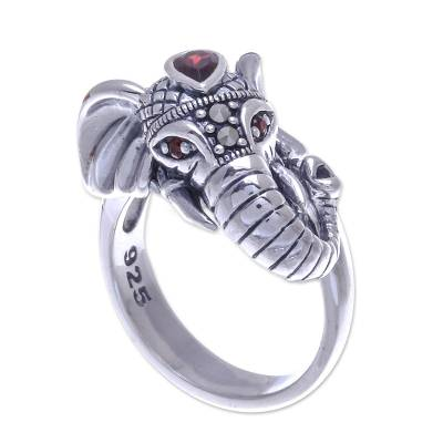 Garnet and marcasite cocktail ring, 'Crowned Elephant' - Garnet and Marcasite Elephant Ring from Thailand