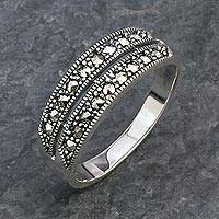 Marcasite band ring, 'Shared Journey' - Marcasite and Sterling Silver Band Ring