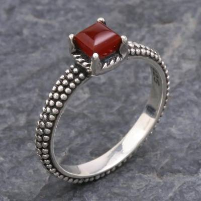 Chalcedony solitaire ring, 'Beaded Splendor' - Red Chalcedony and Sterling Silver Handmade Solitaire Ring