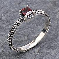 Garnet solitaire ring, 'Beaded Splendor' - Garnet and Sterling Silver Handmade Solitaire Ring