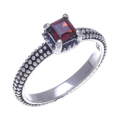 Garnet solitaire ring, 'Beaded Splendor' - Garnet and Sterling Silver Handmade Solitaire Ring