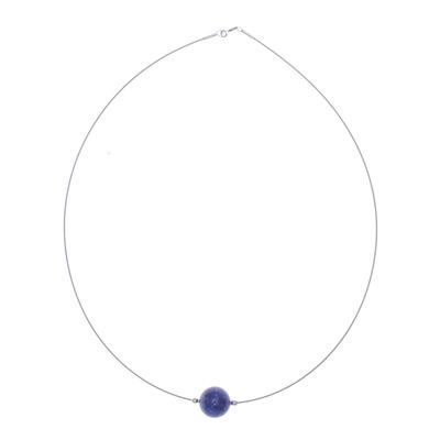 Lapis lazuli pendant necklace, 'Modern Mood' - Lapis Lazuli Modern Pendant Necklace from Thailand