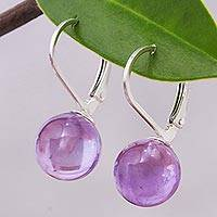 Amethyst drop earrings, 'Pure Violet' - Purple Amethyst and Sterling Silver Earrings from Thailand